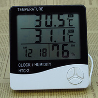 HTC 2 Digital LCD Thermometer Hygrometer Electronic Temperature Humidity Meter Weather Station Indoor Outdoor Alarm Clock