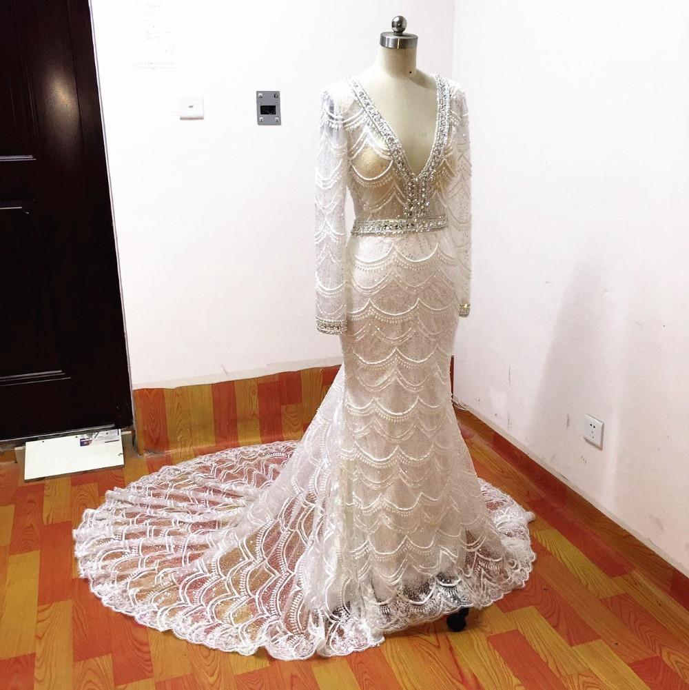 Mermaid bröllopsklänningar 2017 spets brudklänning långärmade - Bröllopsklänningar - Foto 5