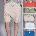 2017 novos homens verão shorts de linho Harém shorts de algodão Respirável masculino virilha baixo cruz cânhamo masculino calça casual shorts homens