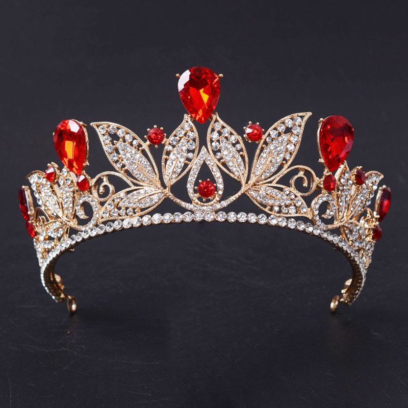 Luxury Tiara Gold Bridal Crown Vintage Red Crystal Prom Crowns For Women Wedding Bridal Hair Accessories