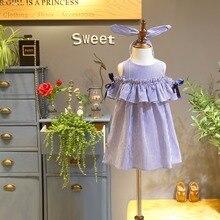 Year 1-14 Summer Teen Girls Clothes Blue Stripe Dress for Girls Kids Ruffles Dress+Headband Children Dress New Cotton Kids Wear