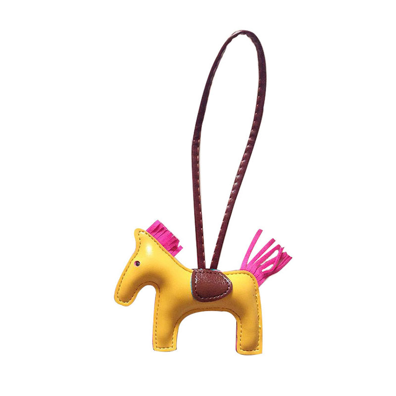 QCOOLJLY Luxury Leather Tassel Key Rings PU Little Horse Keychain Women Handbag Cute Pendant Holder Accessories Wholesale tassel design keychain