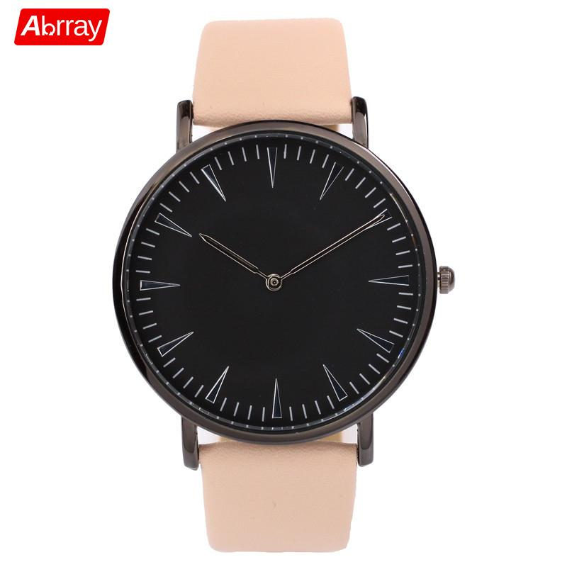 Abrray Black Dial Simple Couple Watch Quartz Leather Band Watches For Lovers Elegant Pink Large Strap Wristwatch Men And Women велосипед novatrack zebra 12 красно белый