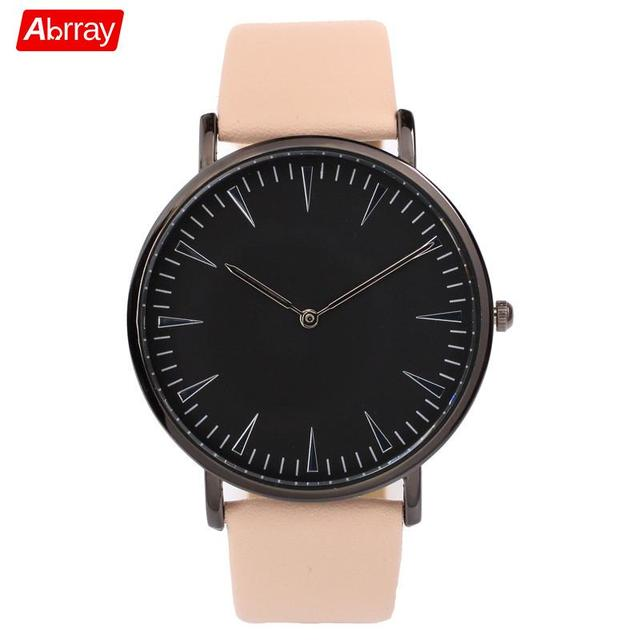 Abrray Black Dial Simple Couple Watch Quartz Leather Band Watches For Lovers Ele