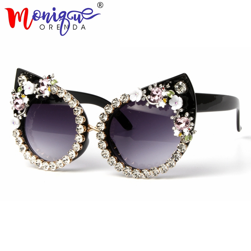 Sunglasses Women Oculos Shades Rhinestone-Decoration Luxury Brand Cat Eyes With Vintage