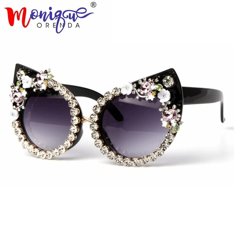 Lunettes de soleil Femmes De Luxe Marque lunettes bijou En Métal avec Strass Décoration Chat Yeux lunettes de Soleil Vintage Shades Oculos