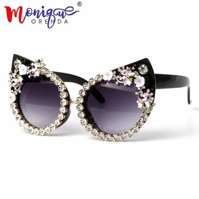 6e6ce2043 Sunglasses Women Luxury Brand glasses Metal jewel with Rhinestone  Decoration Cat Eyes Sunglasses Vintage Shades Oculos