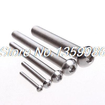 100Pcs Hex Socket Drive Button Head Stainless Steel Screws M5*12 Dia M5 SUS304