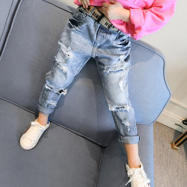 2017 han edition spring new baby girl jeans hole cowboy children feet long pants pants free shipping