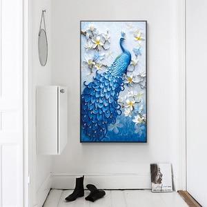 Image 2 - ブルー孔雀動物のダイヤモンドの絵画モクレン花ラウンドフルドリル5D nouveaute diyモザイク刺繍クロスステッチギフト