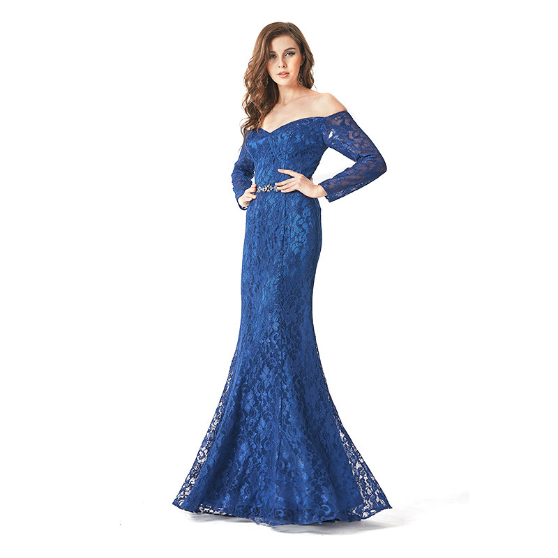 BacklakeGirls New Mermaid Sexy Lace 2019 Mother Of The Bride Dress Boat Neck Off The Shoulder Floor Length For Wedding Party