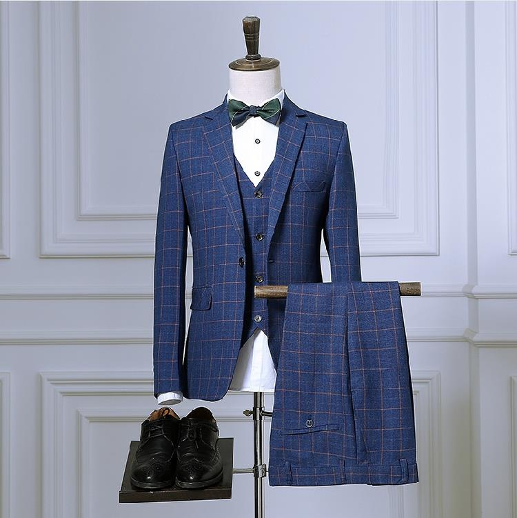 Пиджак + брюки + жилет высокого качества клетчатые свадебные костюмы мужские, блейзер мужские, свадебное платье, полоски мужские платья кост...