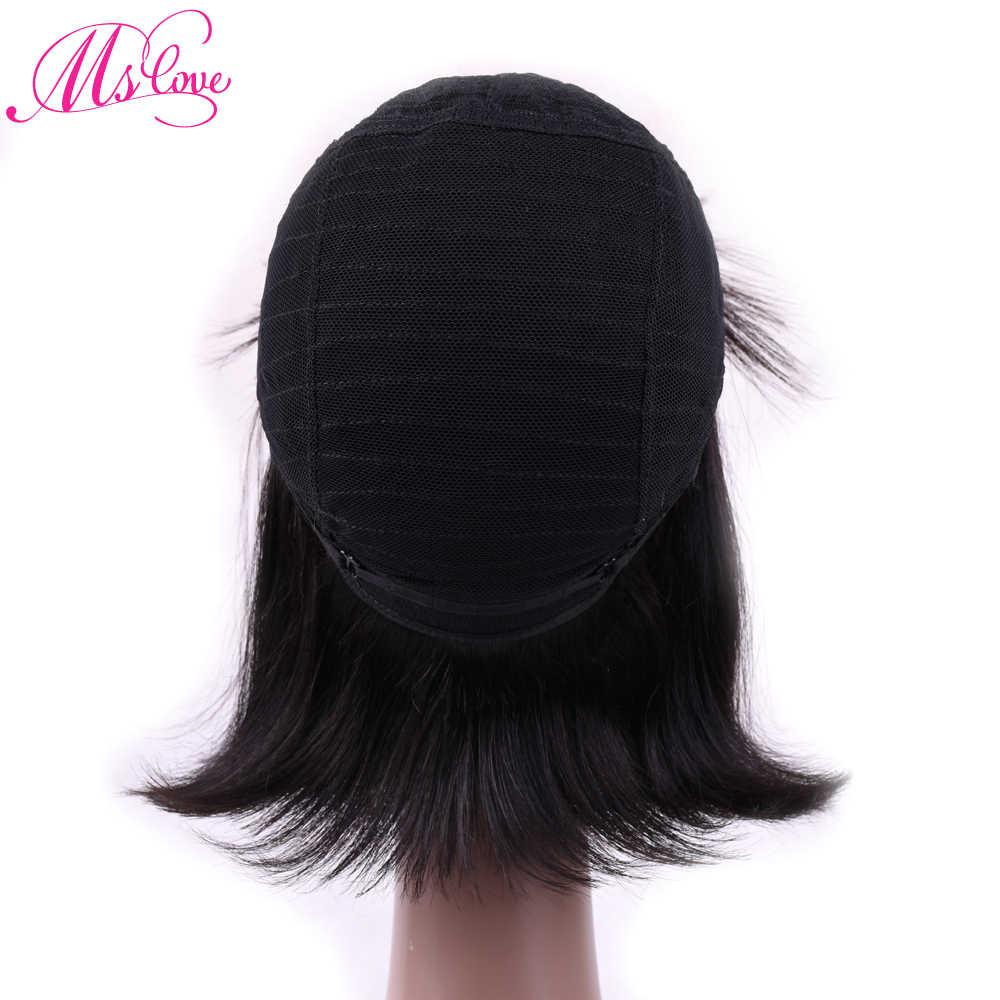 MS Love волосы парики прямые человеческие волосы парики с челкой для черных женщин бразильские не Реми волосы человеческие волосы парики 1B #