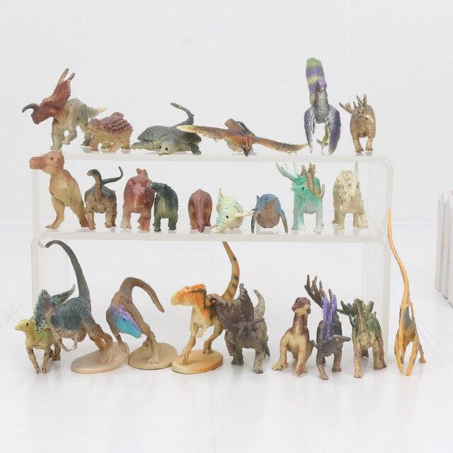24 pçs/lote Mini Dinossauro Tiranossauro Rex Dinossauros figura de brinquedo de Plástico Mini Educacional figura Brinquedos Animais