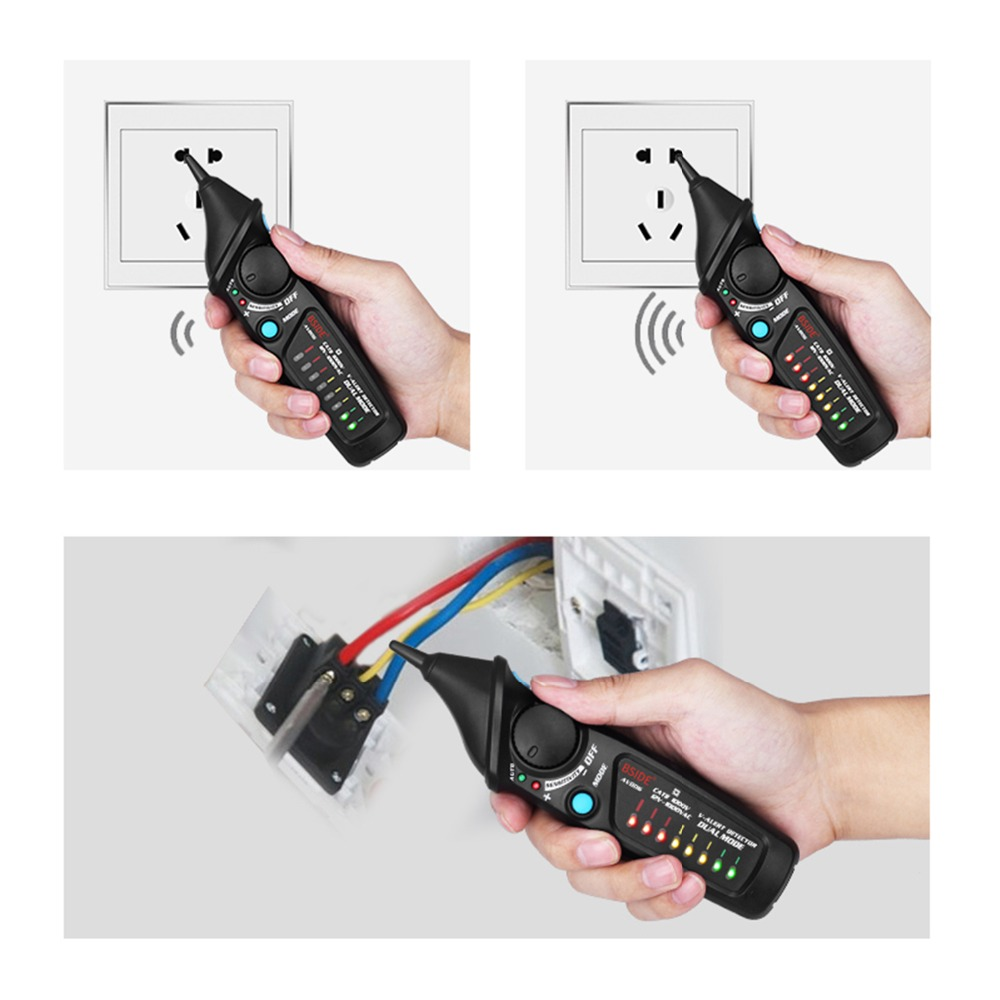 BSIDE Dual Mode Non-Contact AC Voltage Detector Tester + Socket Wall Power Outlet Tester Circuit Polarity Breaker Finder KIT