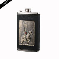 Luxury Grade 10 Ounce Hip Flask Stainless Steel Hip Flask The Death Knight Design Leather Flask