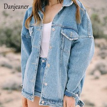 Danjeaner BF Wind Loose Large Size Denim Jacket Female Turn Down Collar Coat Cas