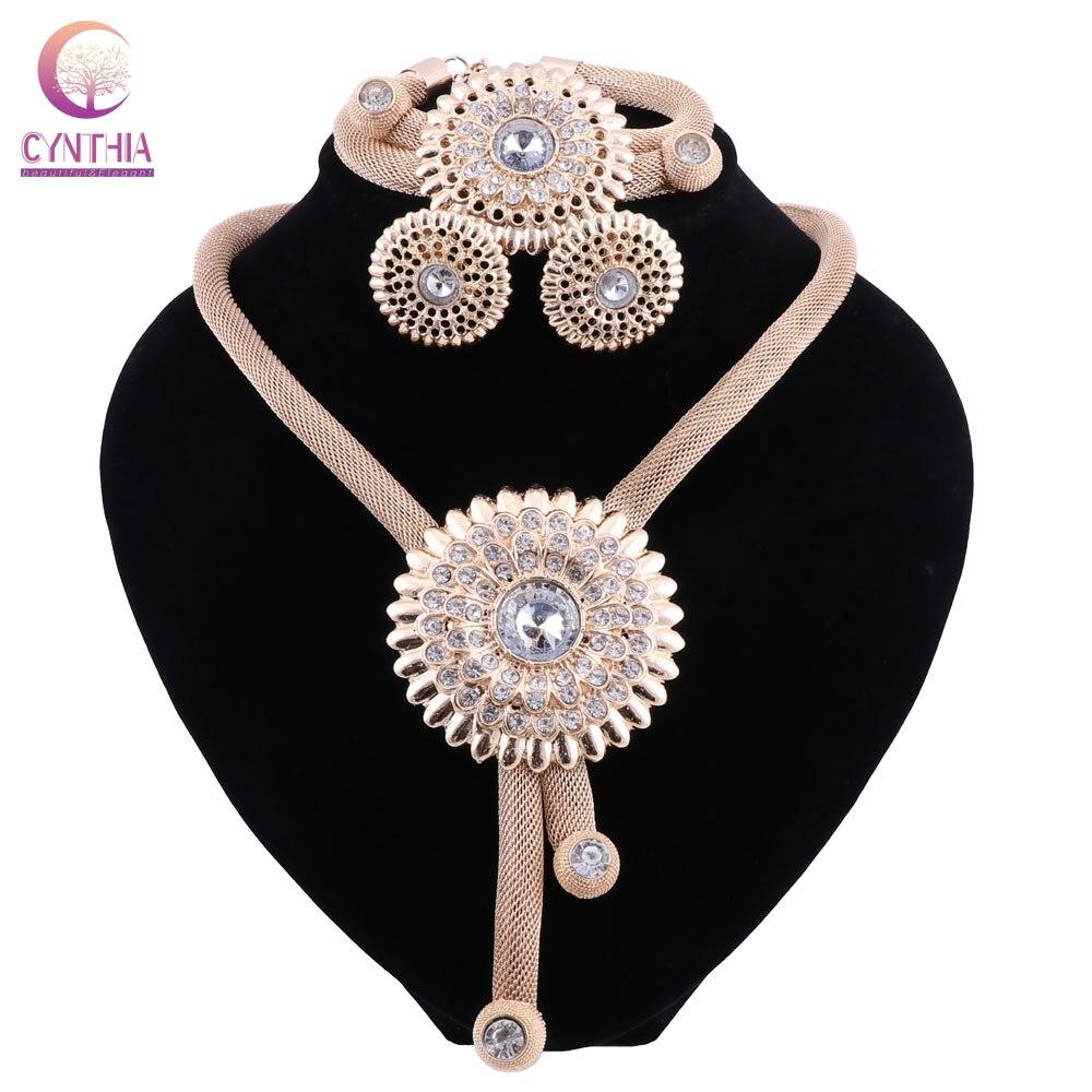 b0c0b6b203d4 Cheap CYNTHIA Africana conjuntos de joyería de Color oro boda de Nigeria  para las mujeres boda