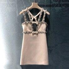Брендовое модное женское роскошное летнее Новое Элегантное сексуальное платье с бисером и блестками на бретельках