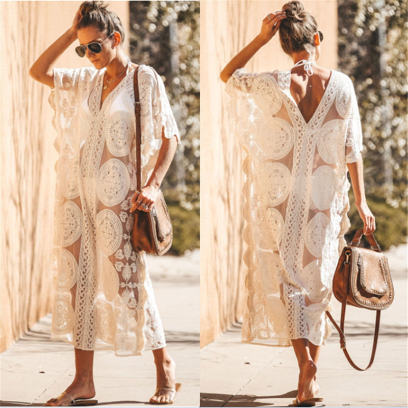 Beach Outings For Women Coverup Dresses 2019 Pareo The Wear Summer Dress Woman Blown Lace Skirt Loose Solid Polyester Sierra
