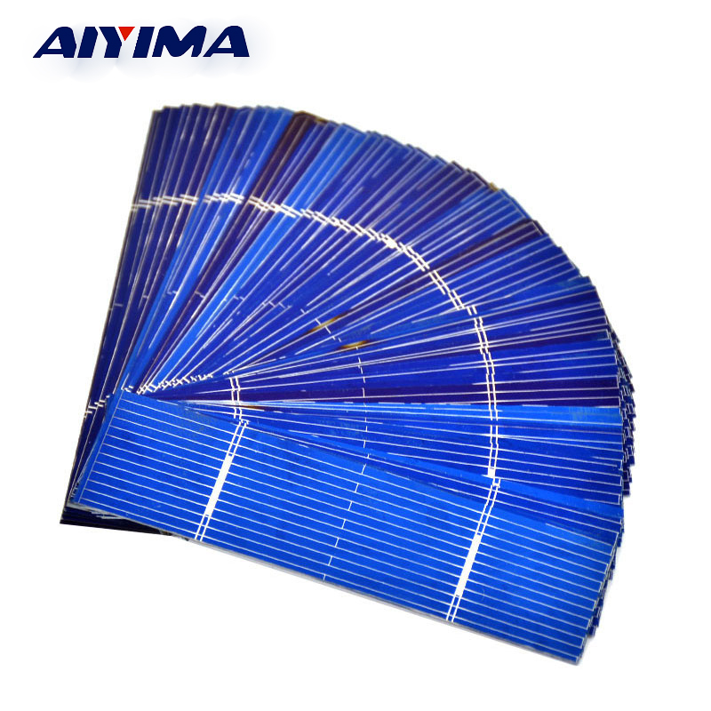 AIYIMA 50pcs Solar Panel 0.25W 0.5V 0.5A 76*19mm Polycrystalline Silicon Solar Panel Solar Cell DIY Charger Battery