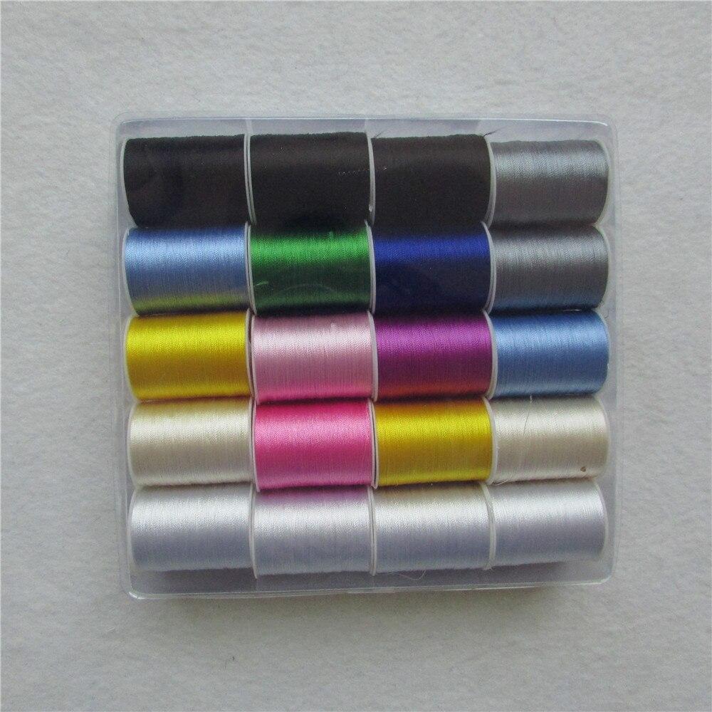 60 yards/pcs couleur différente de haute qualité rayonne multicolore fil à broder fil à coudre 1 boîte vente