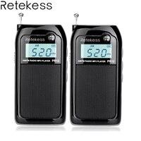 2 шт. Retekess PR12 карманное радио FM/AM Цифровая настройка радиоприемник MP3 музыкальный плеер с Перезаряжаемые Батарея большой объем