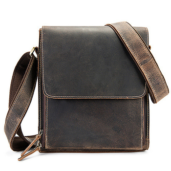 Casual Men Crossbody Bags Genuine Leather Shoulder Messenger Crazy Horse Wholesale Free Shipping