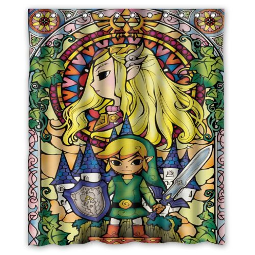 The Legend Of Zelda Stained Glass Custom Waterproof Shower Curtain 60 X 72 Free