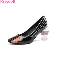 fa09f0a8 Knsvvli Newest Fashion Clear Crystal Strange Style High Heel Shoes Women  Pumps Square Toe Patent Leather