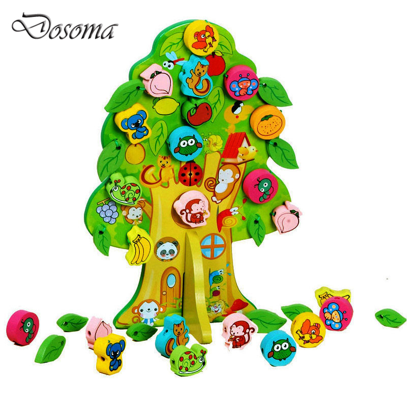 Cute Cartoon Animal Fruit Tree Wooden Toy Baby Early