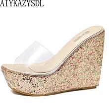 d18072977b5 AIYKAZYSDL Women Transparent Clear Crystal Sequins Platform Wedge thick  sole sandals high heels Mules Slides Summer
