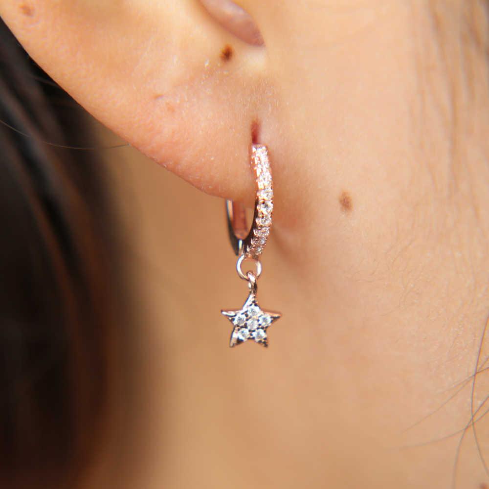 100% Серебро 925 пробы Рождественский подарок нежная звезда амулет зажим на микро проложить прозрачный cz милые крошечная звезда висячие серьги