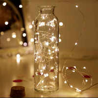 5 piezas 1 M 10 LED Cadena de alambre de cobre batería Micro LED Cadena de luz fiesta boda Navidad decoración de Navidad iluminación de vacaciones