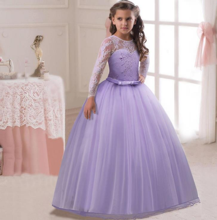 Princess White Tulle Lace Tutu Ball Gown Long Flower Girl Dresses 2018 Girls First Communion Birthday Dresses vestido de daminha цены онлайн
