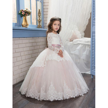 2019 Pageant Dresses for Girls Glitz Long Sleeves Lace Up Ball Gown Appliques Bow Sashes Birthday First Flower Girl Dresses