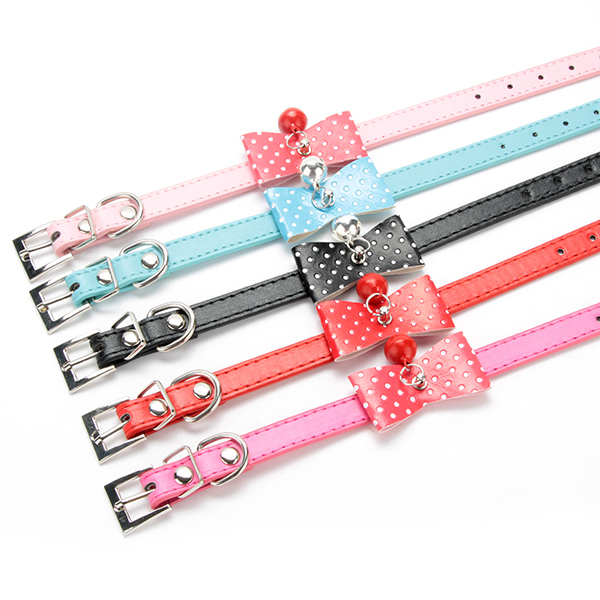 Hot Sales New Adjustable PU Leather Bowknot Bell Cat Dog Necklace Puppy Collar Pet Supplies