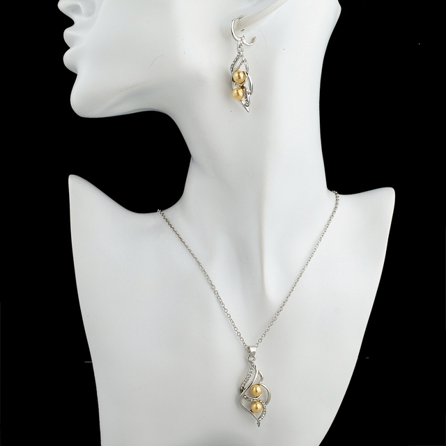 Women Gold Plated Imitation Pearl Bridal Wedding Jewelry Set
