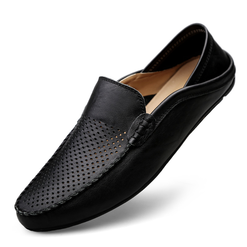Valstone hollowed Casual leather shoes Men Slip-on loafers Summer - Men's Shoes - Photo 3