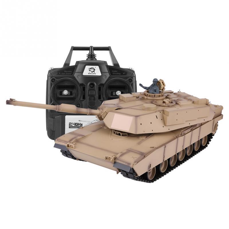 2.4 Ghz 1:16 MIA2 télécommande militaire bataille RC réservoir amélioré en plastique modèle voiture EU Plug 110-240 V RC modèle jouets pour garçons