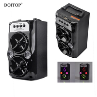 DOITOP Wireless Bluetooth Outdoor Speakers USB Charging Support TF Card Stereo Dual Loudspeaker Bass Subwoofer LED