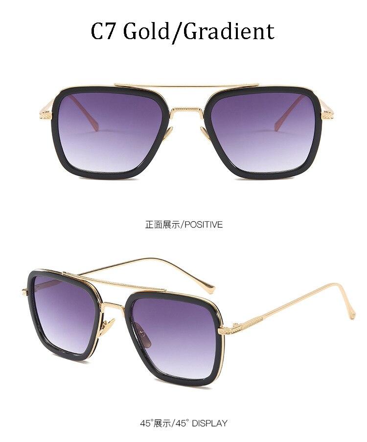 luxury Fashion Avengers Tony Stark Style for women Sunglasses Men Square Brand Design Sun Glasses Oculos Retro male iron Man 11