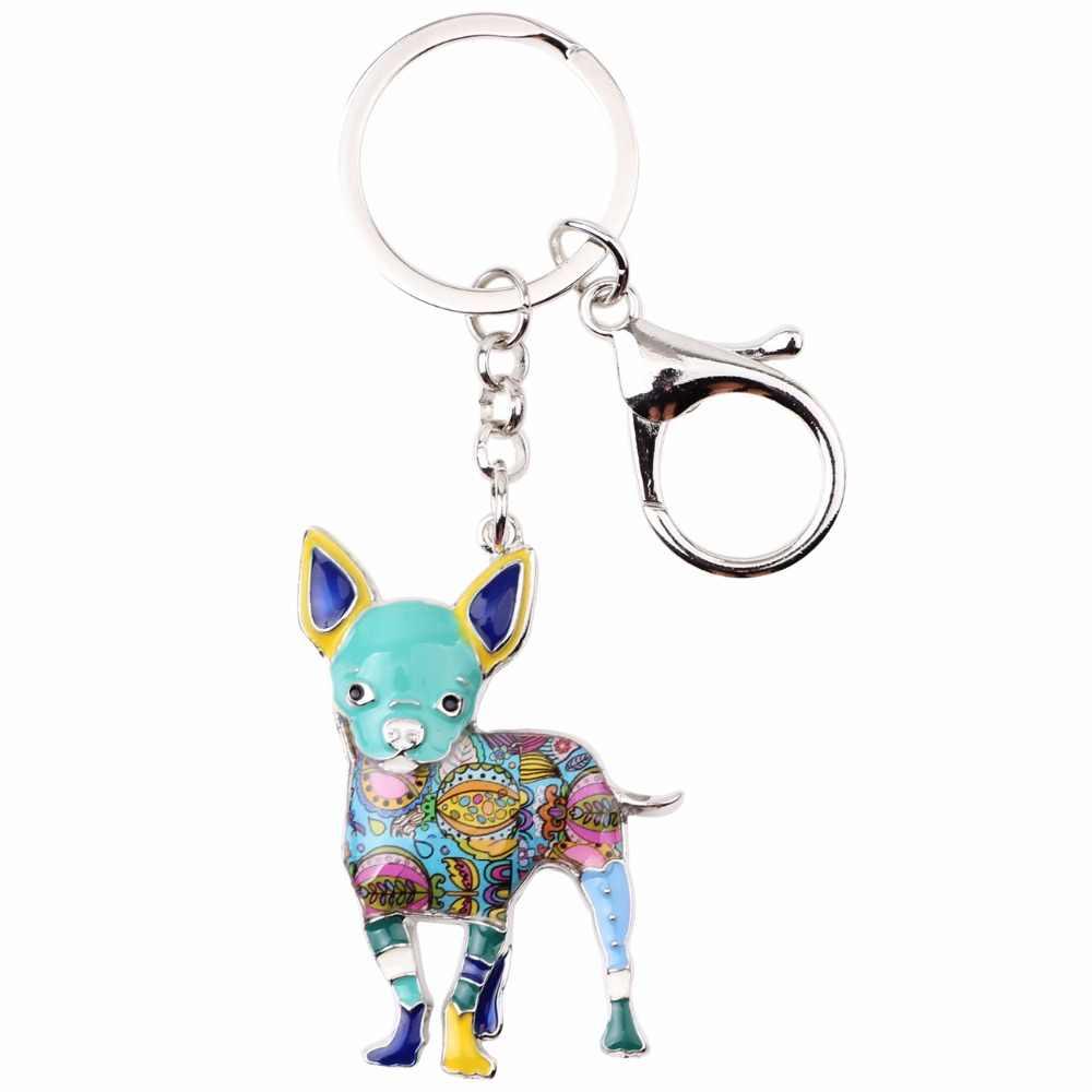 Bonsny эмаль милый брелок для ключей для собаки Pom подарок для женщин девушка сумка Подвеска Новинка 2017 брелок-Шарм модные украшения