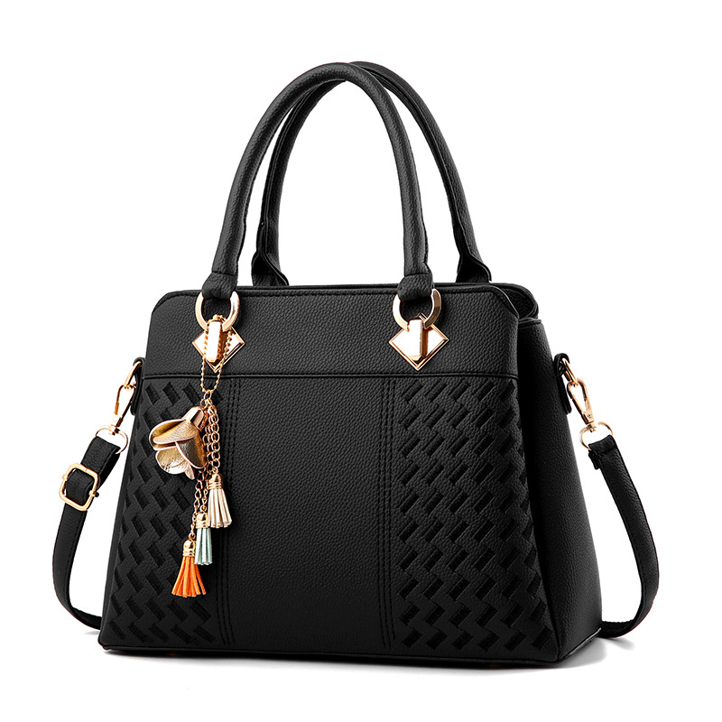 Fashion PU Leather Women Tassel Handbags Ladies Tote Bag Top-Handle Crossbody Bag Embroidery Shoulder Bag Lady Simple Hand Bags