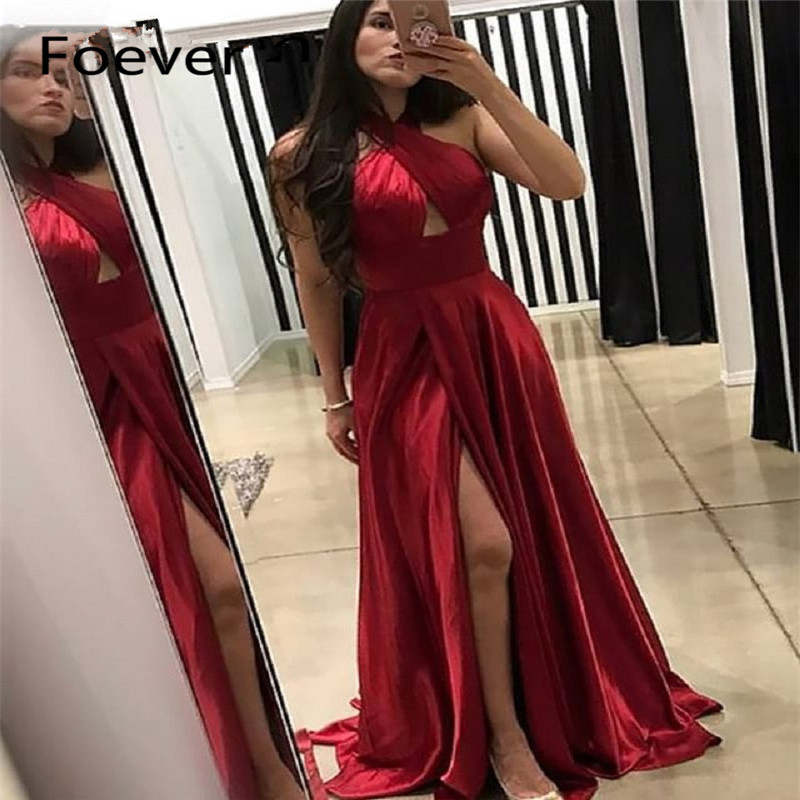 Elegant Burgundy Long Dress Evening Dresses 2019 High Slit A Line Formal Occasion Women Prom Dresses Sexy Plus Size