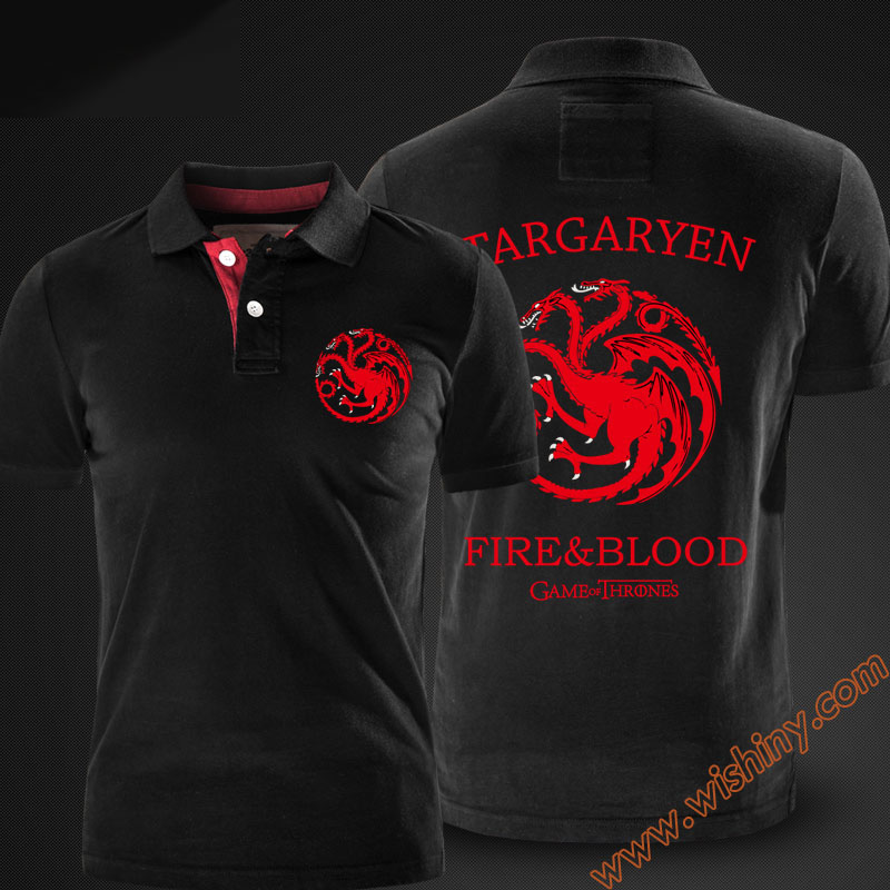 Cool Game of Thrones House Targaryen   Polo   Shirts Men Short Sleeve three-headed dragon Tops Summer Solid Black Red   Polo