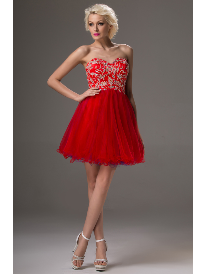 92042aba1ae Custom Made Red Plus Size Short Prom Dresses Short Mini Strapless Beaded  Crystals Tulle 2016 Juniors Cocktail Dresses Real-in Cocktail Dresses from  Weddings ...
