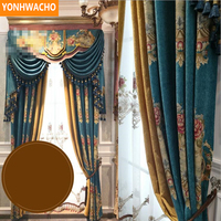 Custom curtains American country retro high grade chenille thick shading fabric cloth blackout curtain tulle valance drapes N848