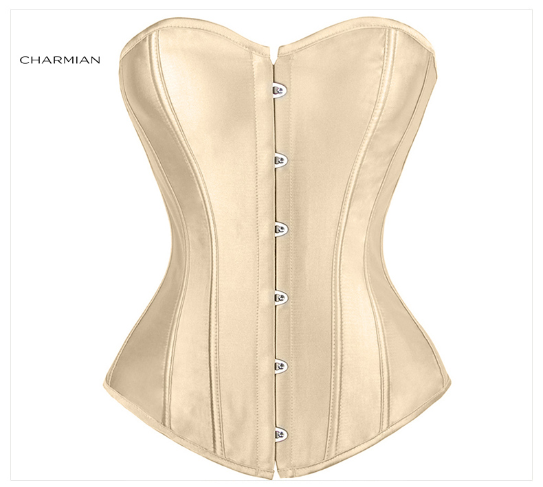 575350471 Womens Plus Size Sexy Overbust Corset Black Satin Corsets and ...
