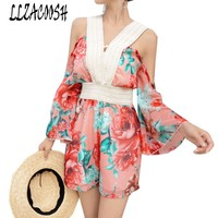 Lady 2018 Runway Summer Chiffon Jumpsuit Rompers Printting Floral Women Flare Sleeve Beach Wide Leg Playsuit